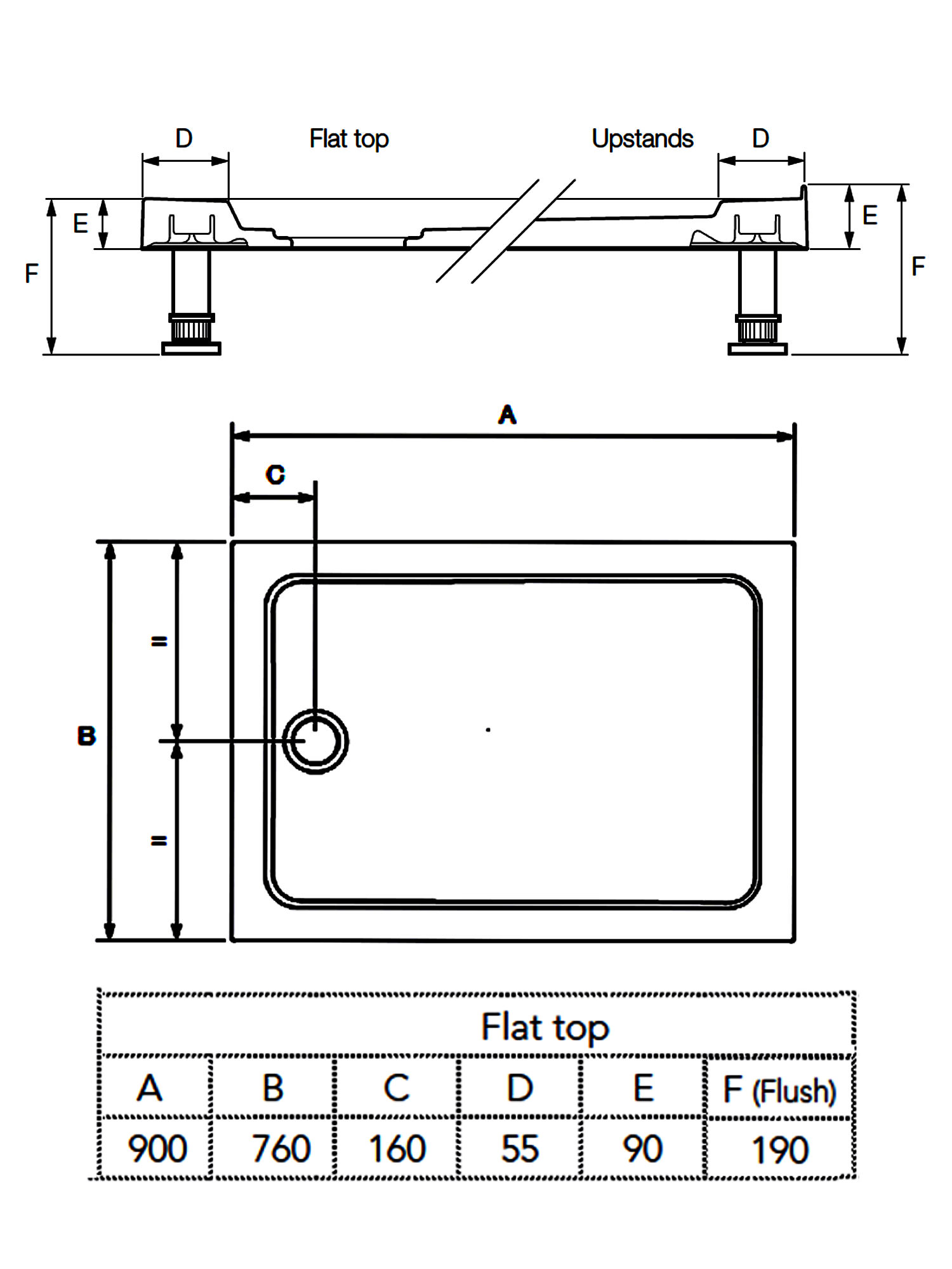 Mira Flight 900 X 760mm Rectangle Shower Tray