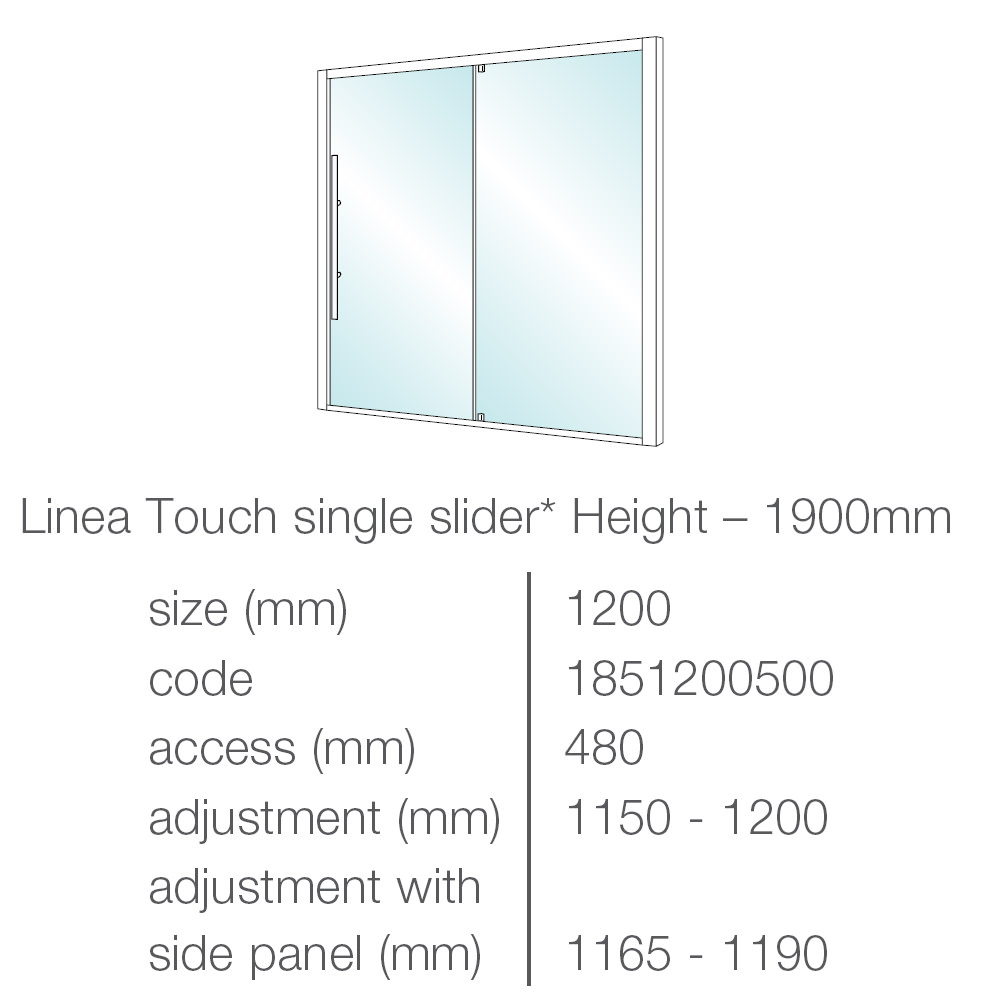 Merlyn 8 series sliding door amp inline panel - Showerlux Linea Touch Single Slider Shower Door 1200mm Technical Drawing 42420 1851200500