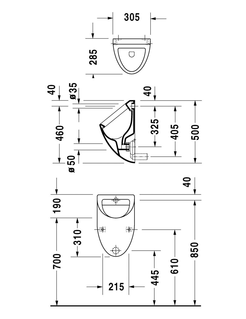 Duravit Urinal Fizz 305 X 285mm Without Cover