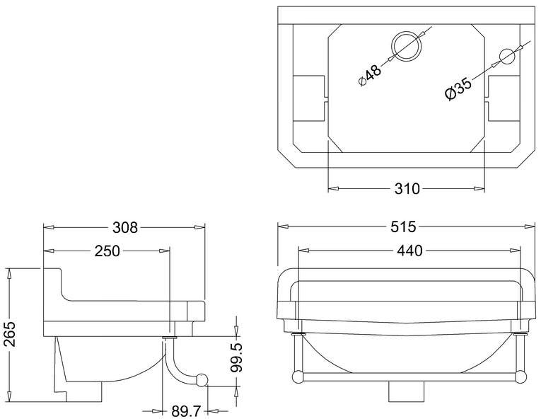 Burlington Edwardian Cloakroom Basin With Towel Rail W 510 X D 308mm