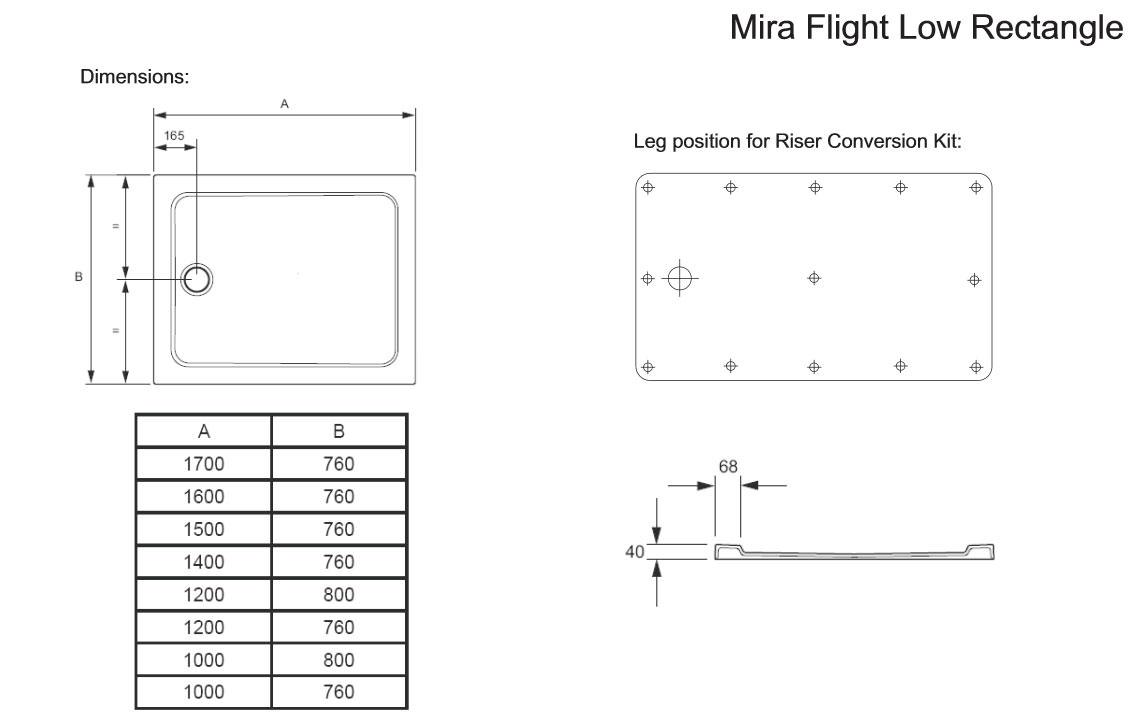 Mira Flight Low Rectangular Shower Tray 1200 X 760mm White