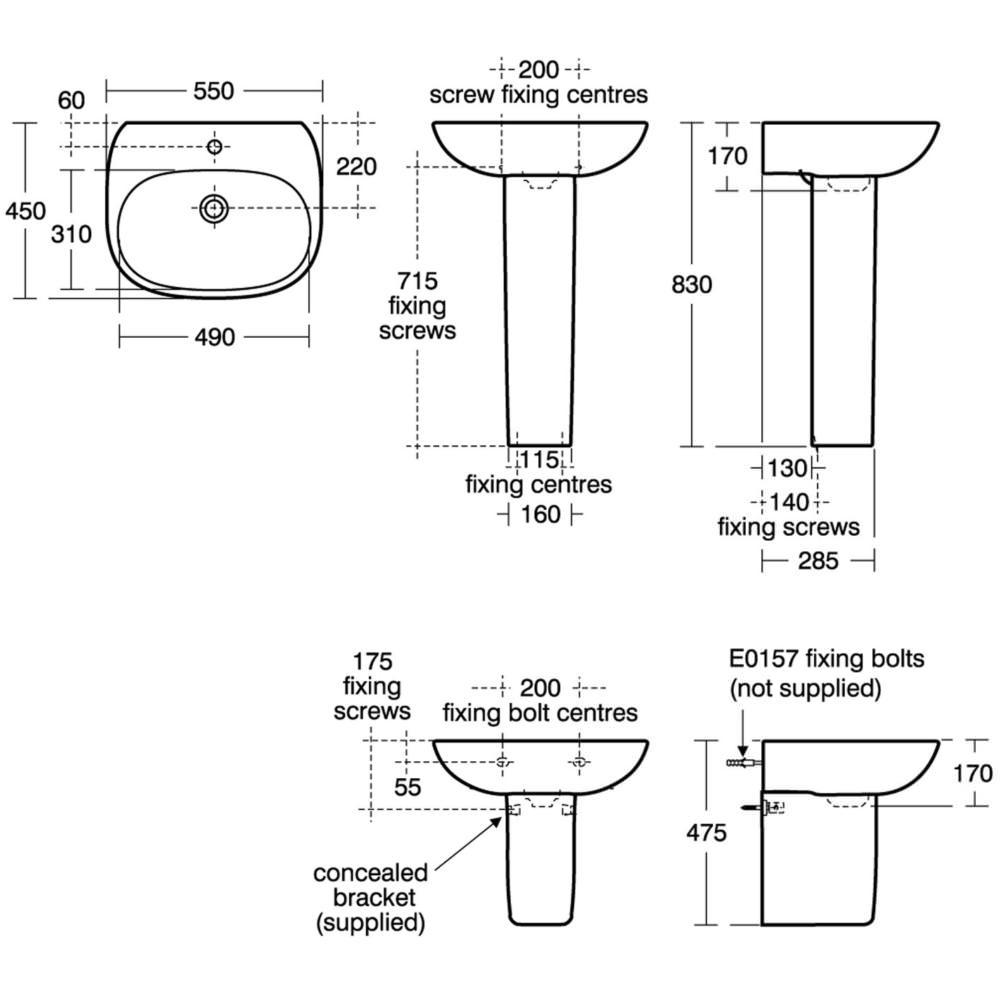 Ideal standard tesi 550 x 450mm washbasin for Tesi design ideal standard