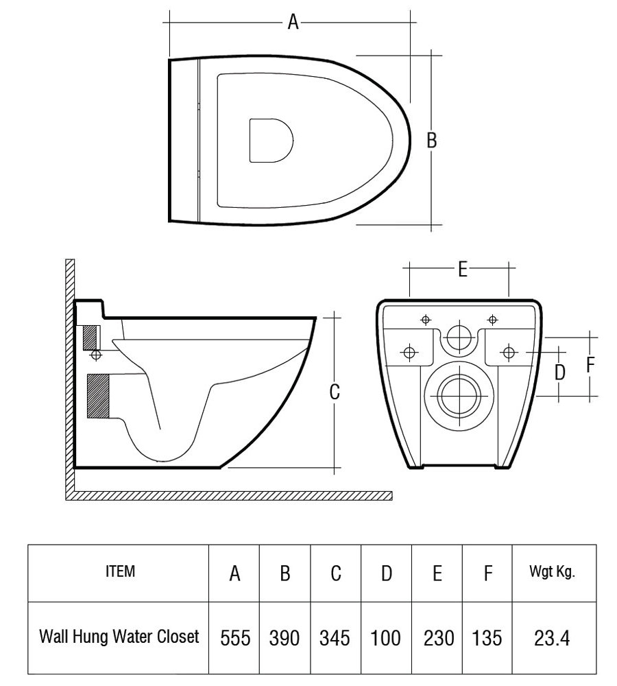 uk toilet seat sizes.  RAK Reserva Wall Hung WC Pan 555mm