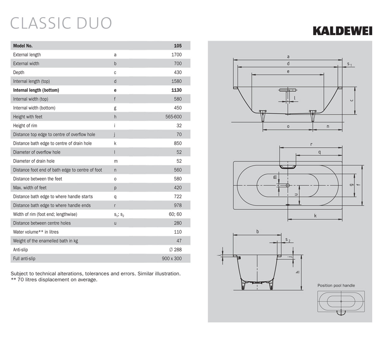 Kaldewei Classic Duo 20 Double Ended Steel Bath 20 x 20mm.