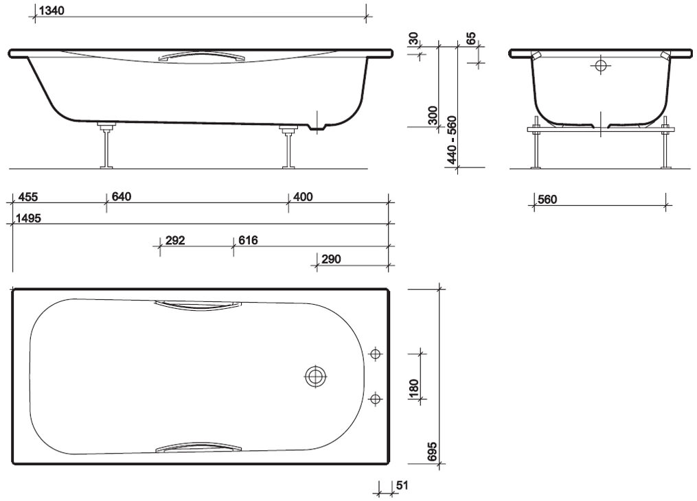 Twyford Shallow Slip Resistant Steel Bath With Grips 1500 x 700mm