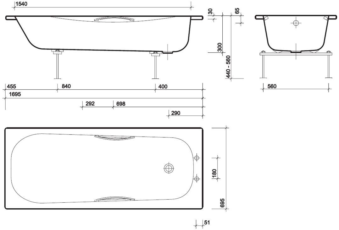 Twyford Shallow Slip Resistant Steel Bath With Grips 1700 x 700mm