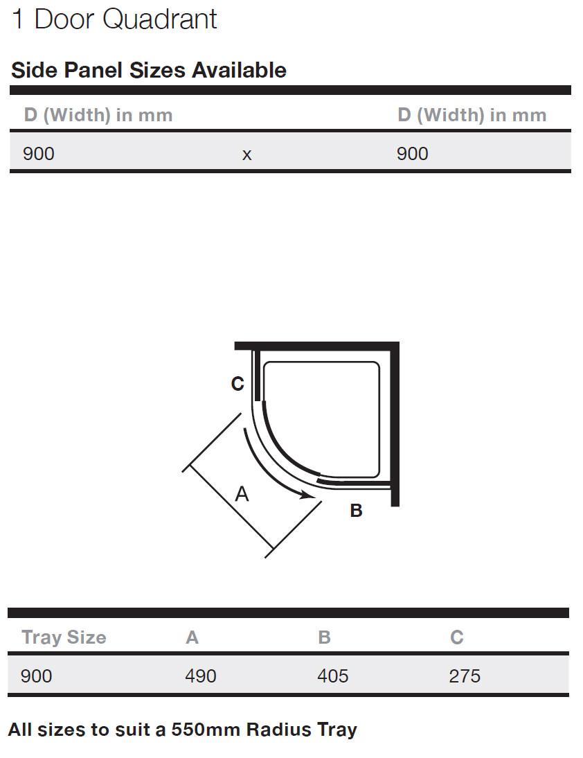 Merlyn 8 series 800mm 2 door quadrant shower enclosure - Merlyn 8 Series 800mm 2 Door Quadrant Shower Enclosure 10